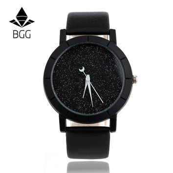 Ladies Casual Watch fashion Rhinestone Women Dress Watch Lovers' Leather Quartz Wristwatch Cute Moon Stars Design clock hours