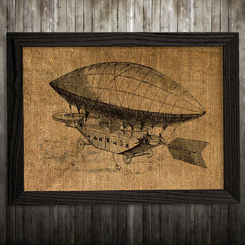 Victorian print Airship poster Steampunk decor Antique print BLP874