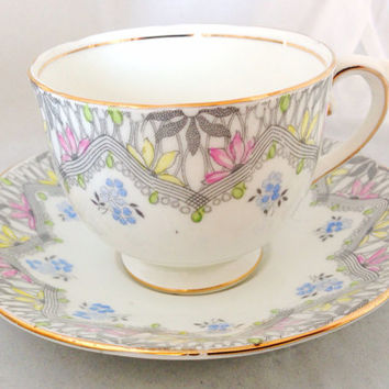 Art Deco Style Floral Royal York Fine Bone China Vintage Teacup & Saucer Set - English - England - grey pink blue white gold