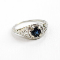 Antique 10k White Gold Genuine Sapphire Solitaire Ring - Size 8 1/2 Vintage 1920s 1930s Blue Gemstone Filigree Fine Engagement Jewelry