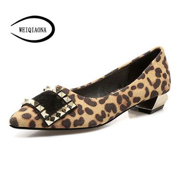 Woman flat shoes rivets with horsehair square buckle shoes shallow low heel Pointed toe spring and summer fashion sexy shoes