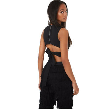 XD2 Fashion 2016 Women Sexy Back Zipper Bow Tanks Cropped Vintage Sleeveless O-Neck Backless Black Casual Brand Short Tops White