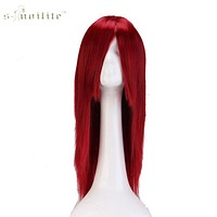 "SNOILITE 24"" 60cm Long Cosplay Wig Wine Red Party Dress Halloween Synthetic Heat Resistant Full Hair Wigs"