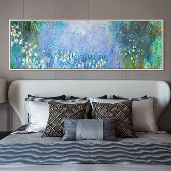 Claude Monet painting Water lilies oil painting on canvas texture art Wall pictures for living Room Home Decor caudros decor quadro Handmade