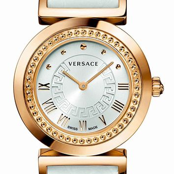 """Versace Women's P5Q80D001 S001 """"Vanity"""" Rose Gold Ion-Plated Watch with Leather Band"""