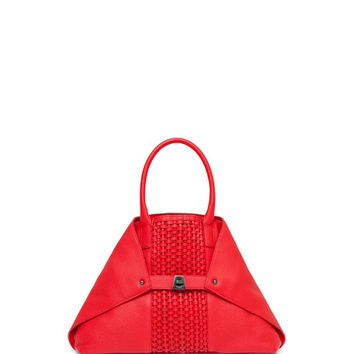 Akris Ai Small Woven Shoulder Bag, Scarlet