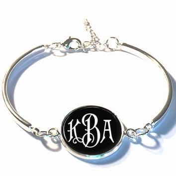 Black and White Monogram Bracelet, Monogram Bangle, Monogram Jewelry, Bridesmaid Gift, Personalized Bracelet, Mother's Day Gift - Style 336