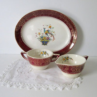 Salem Century Sugar Creamer Set Vintage Serving Hollywood Regency Victorian Dinnerware Gold Maroon Ornate Birds Florals