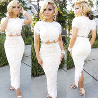 Summer  Style New 2015 Summer Women Lace Embroidery Bandage Bodycon Dress Cut Out Maxi Party Prom Two Piece Sets Dress Plus Size