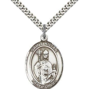 "Saint Kilian Medal For Men - .925 Sterling Silver Necklace On 24"" Chain - 30 ... 617759838633"