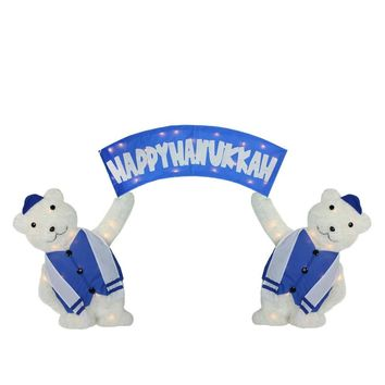 "30"" Lighted Polar Bears with ""Happy Hanukkah"" Sign Christmas Yard Art Decoration"
