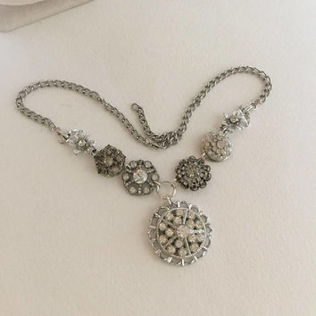 Rhinestone Wedding Necklace, Silver tone Pendant, Assemblage, Reclaimed, Vintage Jewelry, OOAK