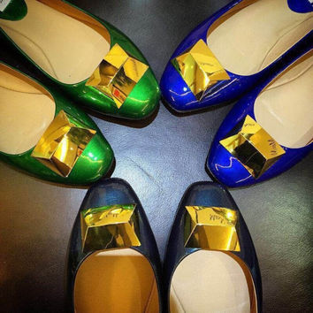 Summer Leather Metal Flat Shoes [4919952260]