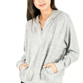 Half Zip Hoodie - Heather Grey