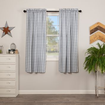 Sawyer Mill Blue Plaid Short Panel Curtains