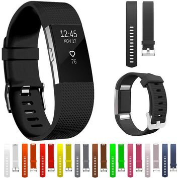 Replacement Silicone Sport Bracelet Strap Clasp Watch Band for Fitbit Charge 2