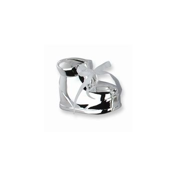 Interchangeable Ribbon Baby Bootie Silver-plated Metal Bank - Engravable Item