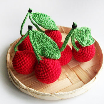 Set of 3 Baby crochet toy / Soft eco-friendly Red  cherries  / For kid's room decor/ kitchen decor / Made with love