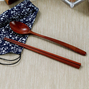 Japanese Style Tableware Natural Wood Chopsticks Spoon Set Cloth Pack Portable Dinnerware Sets