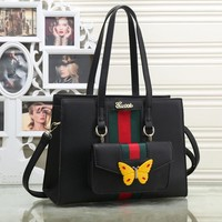 Perfect  Gucci Women Leather Shoulder Bag Satchel Tote Handbag Crossbody Set Two Piece