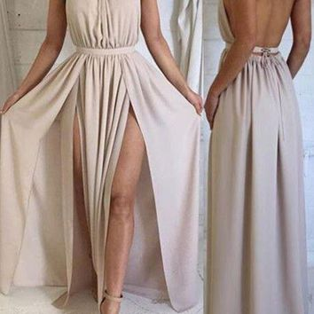 Long Simple Backless Slit Prom dress