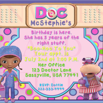 Doc McStuffins And Nurse Hallie Custom Birthday Party Invitation