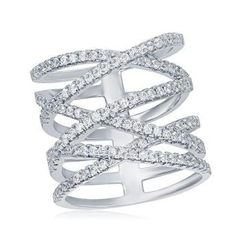 OMG Jewelry 925 Sterling Silver Long X Criss Cross Ladies CZ Ring Cubic Zirconia Stones Size 6 7 8 9