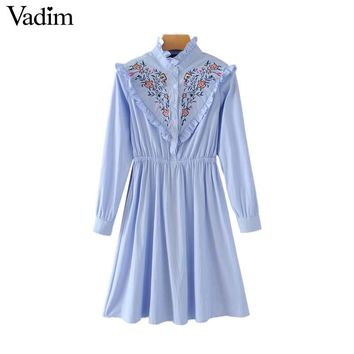 Sweet ruffled neck embroidery striped dress floral pattern pleated long sleeve mini dresses