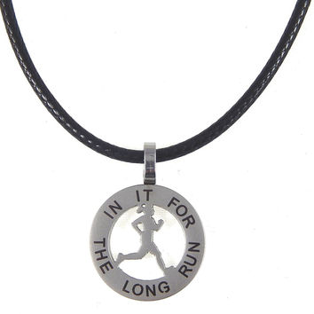 Runner Girl Mantra Charm Necklace - In It For The Long Run