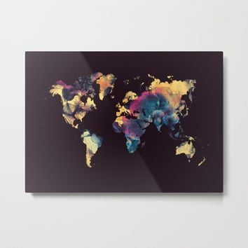 world map 79 yellow black Metal Print by jbjart