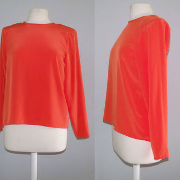 Neon Orange Top/ vintage Silk Blouse / by cashmerevintage on Etsy