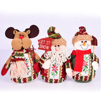 Christmas Xmas Standing Decor Santa Claus Snowman Deer Table Tree Ornaments HU