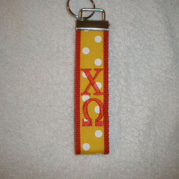 Chi Omega Sorority (OFFICIAL LICENSED PRODUCT) Monogrammed Key Fob Keychain Cotton Webbing Ribbon Wristlet