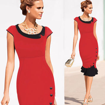 New Fashion Women Vintage Button Tunic Bandage Formal Work Elegant Prom Evening Party Mermaid Midi Wiggle Bodycon Pencil Dress