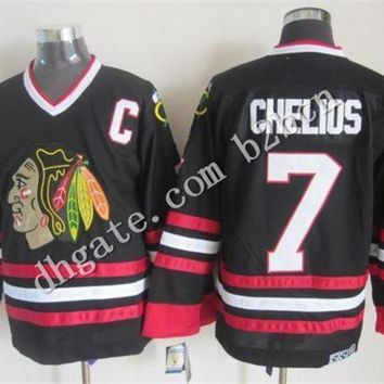 DCCK8X2 cheap NHL Jerseys Chicago Blackhawks #7 Chris Chelios Black Red Stripe 75TH A Patch Th