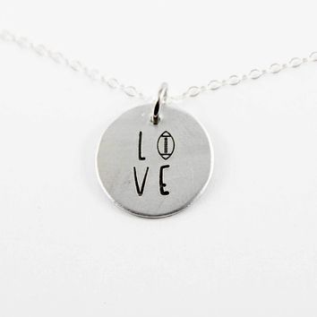 Football Love Necklace - Sterling Silver