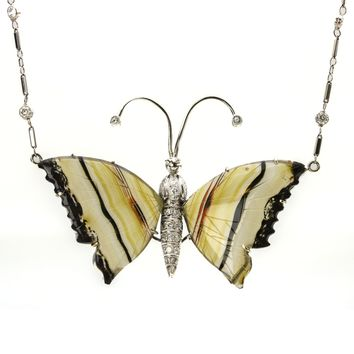 Enamel Butterfly Pendant Necklace with Diamond Stations in White Gold