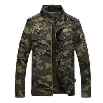Military Zipper Camouflage Printed Cotton Jacket