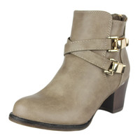 Womens Ankle Boots Strappy Buckle Accent Casual High Heel Shoes Taupe