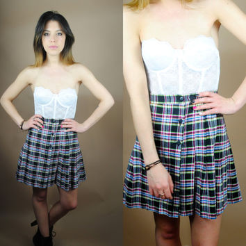 Vintage 1990s high waist pleated plaid wrap button down mini skirt Schoolgirl S M