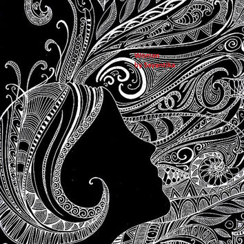 Woman - 9x12 Woman Zentangle drawing / Zentangle Art black and white Illustration Black Abstract Archival print