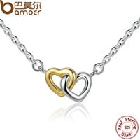 BAMOER 925 Sterling Silver United in Love Silver & Small Chain Necklace & Pendan