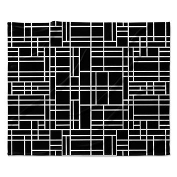 "Project M ""Map Outline Black"" Simple Geometric Fleece Throw Blanket"