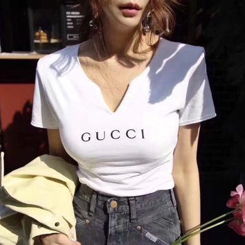 Gucci Women V-Neck Simple T-shirt