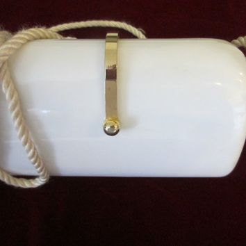 White Celluloid Cross Body Clutch Purse Tassel Design Strap Rope