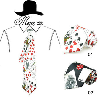 Man's Funny Neckties Polyester 4 inch width playing card/poker white Black Neckties Gravatas Party Wedding Tie