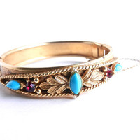 Vintage Florenza Hinged Bracelet -  Gold Tone Victorian Revival Bangle Costume Jewelry / Gilded Teal & Red