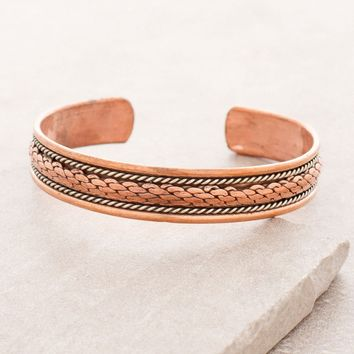 Tibetan Rope Copper Healing Bangle