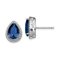 Sterling Silver Created Blue Sapphire Pear & CZ Post Earrings