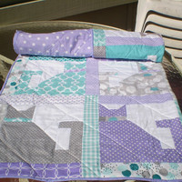 Handmade baby quilt, Cat Baby quilt, Baby girl bedding, crib quilt patchwork, teal, purple, grey, aqua, lavender, toddler, lap, Calico Cats